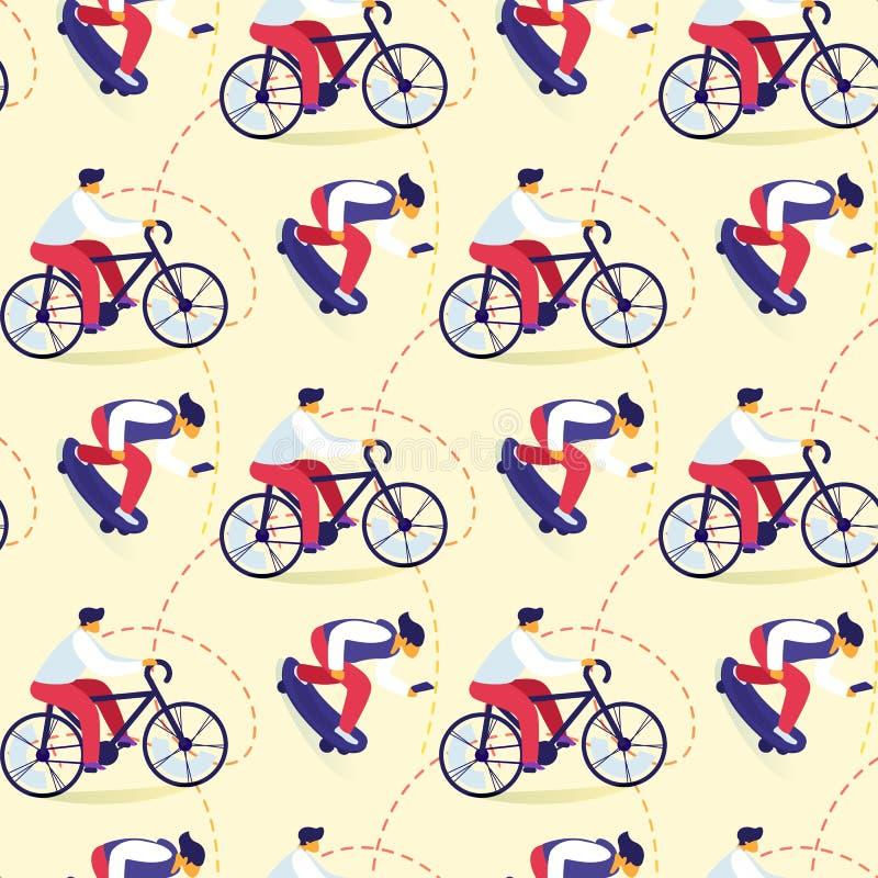 青少年的无缝的样式骑自行车,踩滑板 皇族释放例证