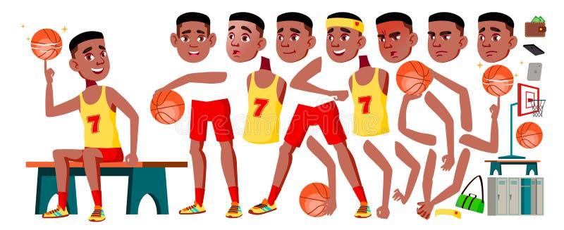 青少年的男孩传染媒介 动画创作集合 投反对票 美国黑人 面孔情感,姿态 逗人喜爱,可笑 喜悦 茴香酒 为 皇族释放例证
