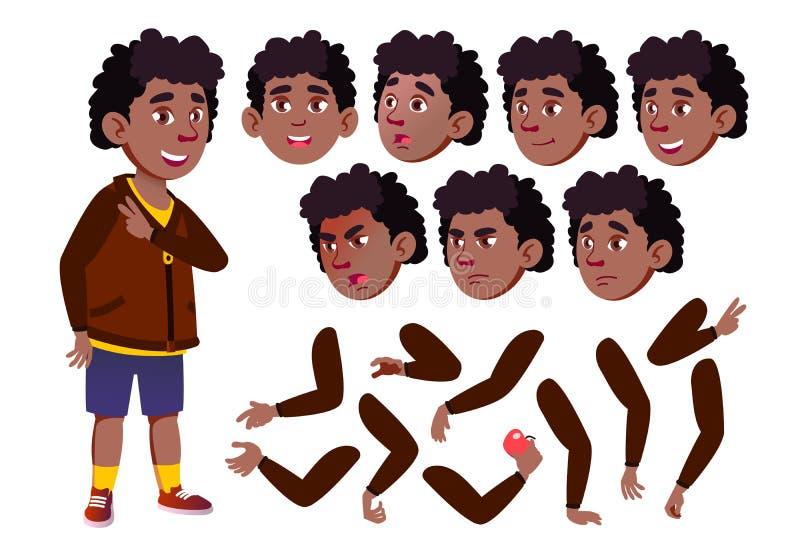 青少年的男孩传染媒介 少年 投反对票 美国黑人 相当,青年时期 面孔情感,各种各样的姿态 动画创作集合 库存例证