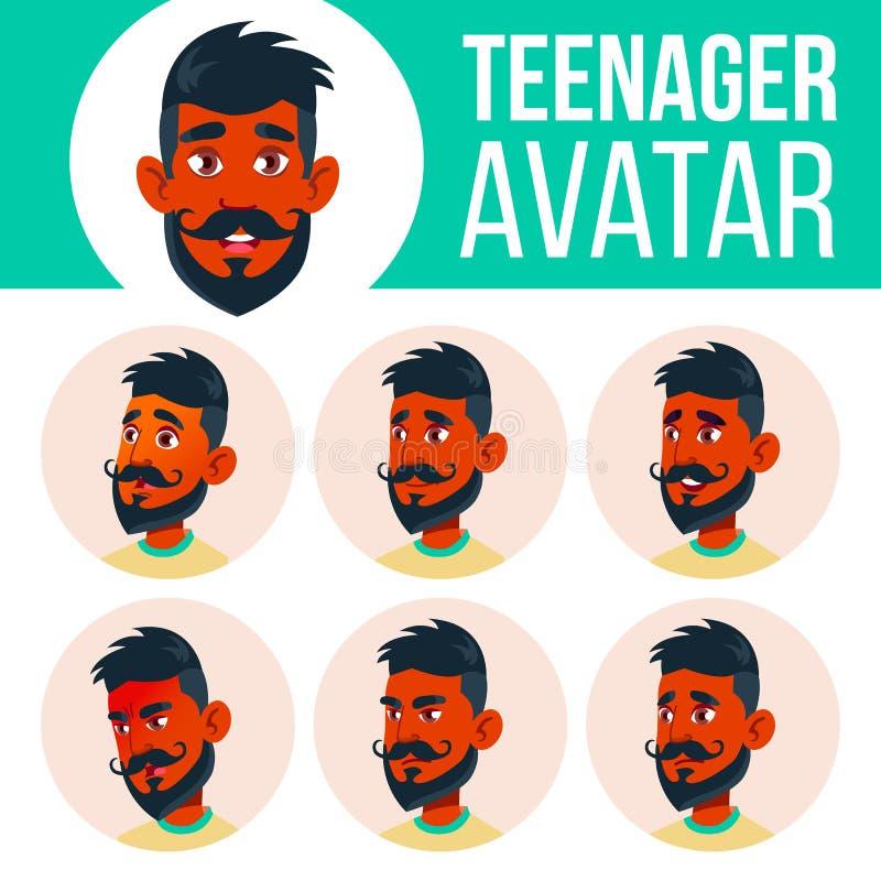 青少年的男孩具体化集合传染媒介 印地安人,印度 亚洲 面对情感 表示,正面人 秀丽,生活方式 动画片 库存例证