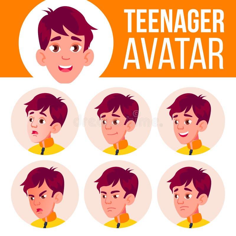 青少年的男孩具体化集合传染媒介 面对情感 学校学生 动画片顶头例证 库存例证
