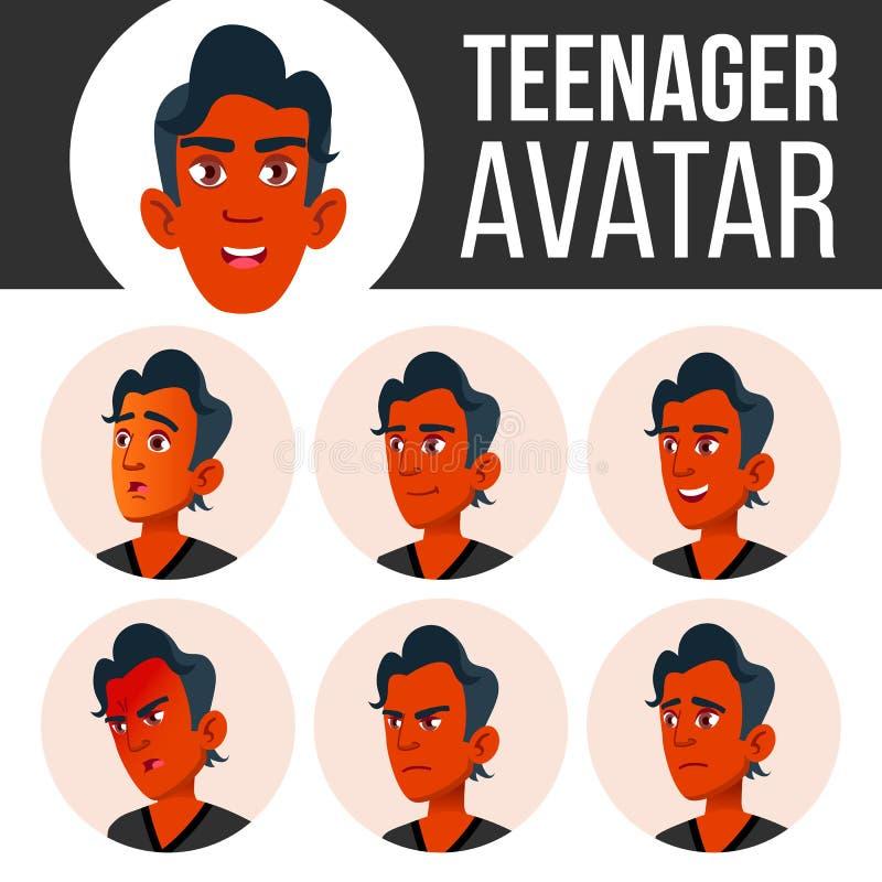 青少年的男孩具体化集合传染媒介 面对情感 平,画象 印地安人,印度 亚洲 青年时期,白种人 动画片愉快的顶头例证人 向量例证