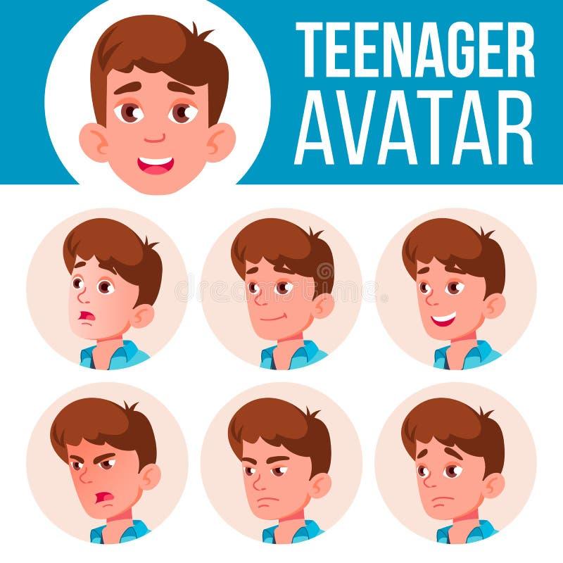 青少年的男孩具体化集合传染媒介 面对情感 用户,字符 乐趣,快乐 动画片顶头例证 向量例证
