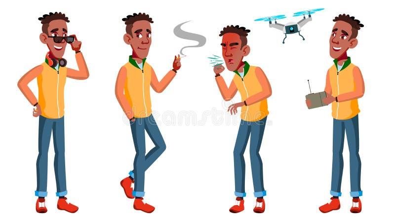 青少年的男孩姿势被设置的传染媒介 投反对票 美国黑人 友好,欢呼 对横幅,飞行物,小册子设计 被隔绝的动画片 皇族释放例证