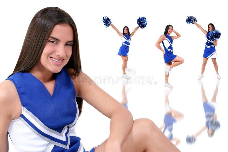 青少年美丽的大括号的啦啦队员 免版税库存图片