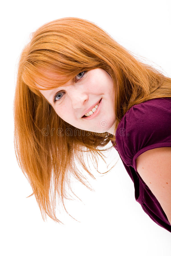 青少年美丽的有雀斑的女孩 免版税库存图片