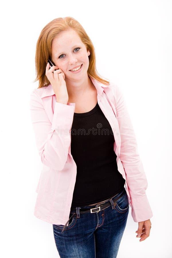 青少年美丽的有雀斑的女孩 库存照片