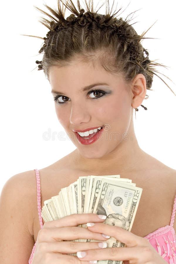 青少年美丽的现金 免版税库存照片