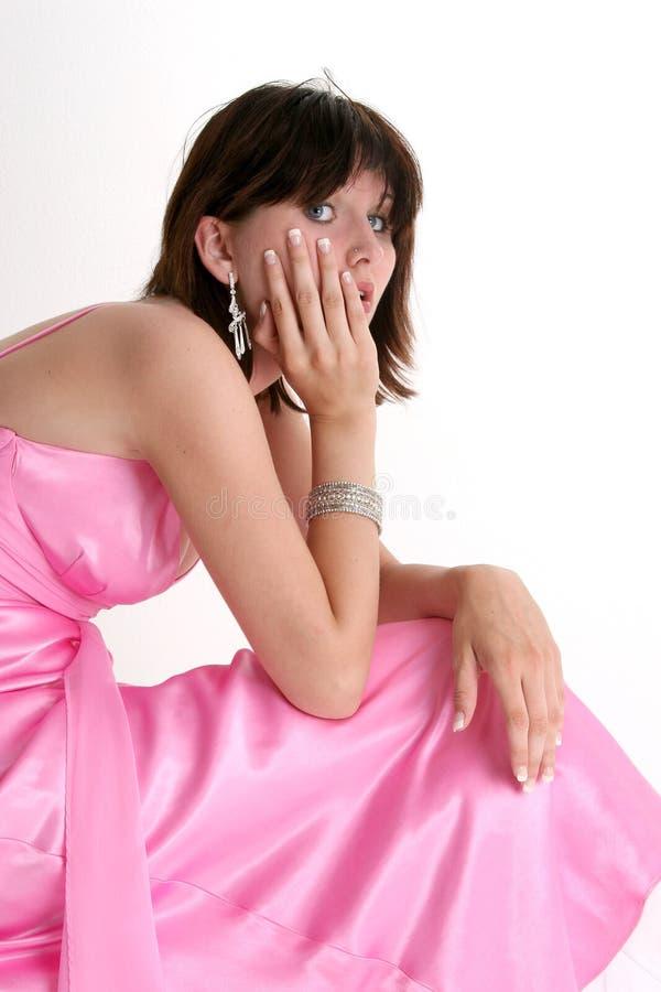 青少年美好的正式女孩的粉红色 库存照片