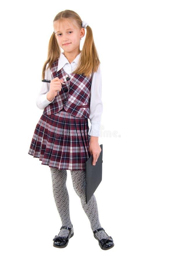 青少年逗人喜爱的女小学生 免版税库存图片