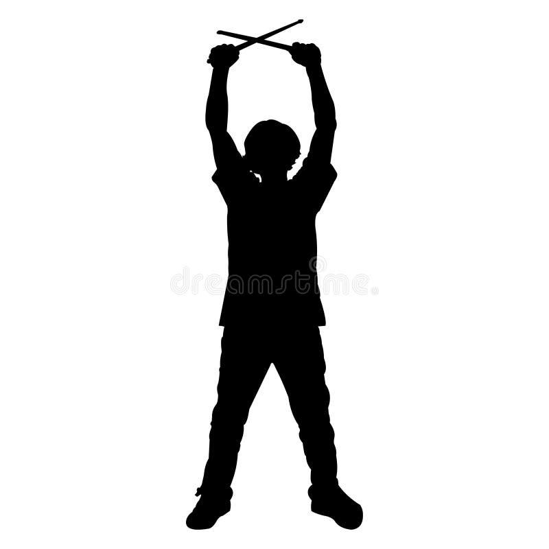 青少年鼓手的剪影 向量例证