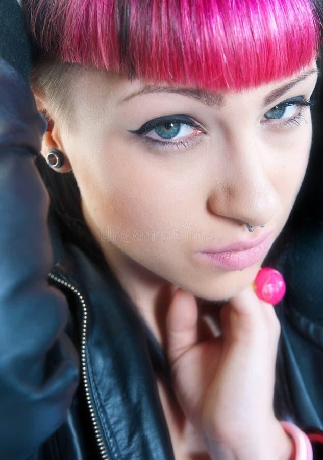 青少年emo的女孩 免版税库存图片