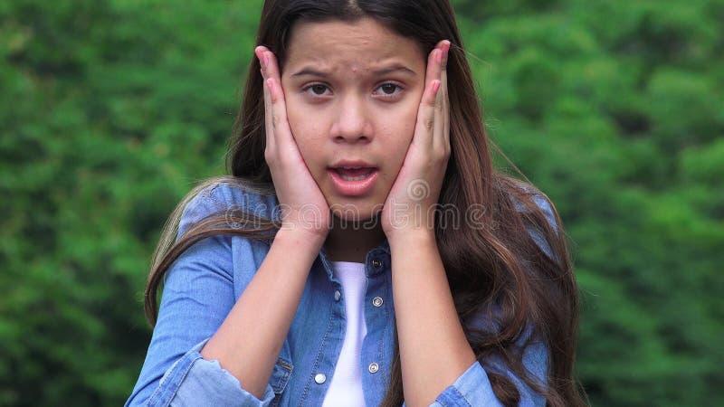 青少年的女孩冲击了惊奇触犯和惊动 库存照片