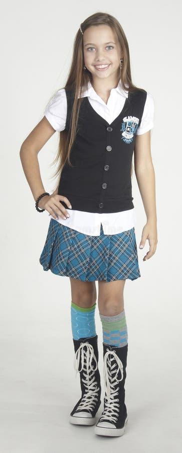青少年的女孩学校时尚 库存照片