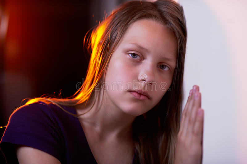 青少年的女孩的画象 库存照片