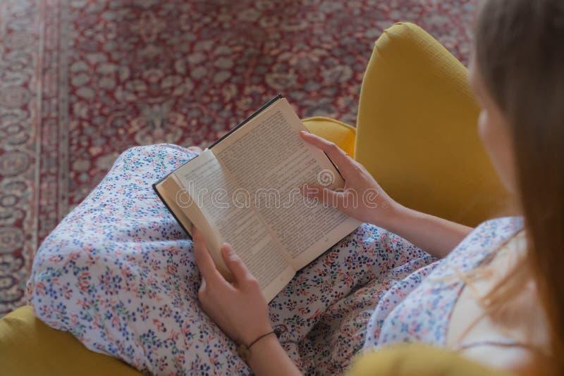 青少年的妇女读了书椅子里面 免版税图库摄影