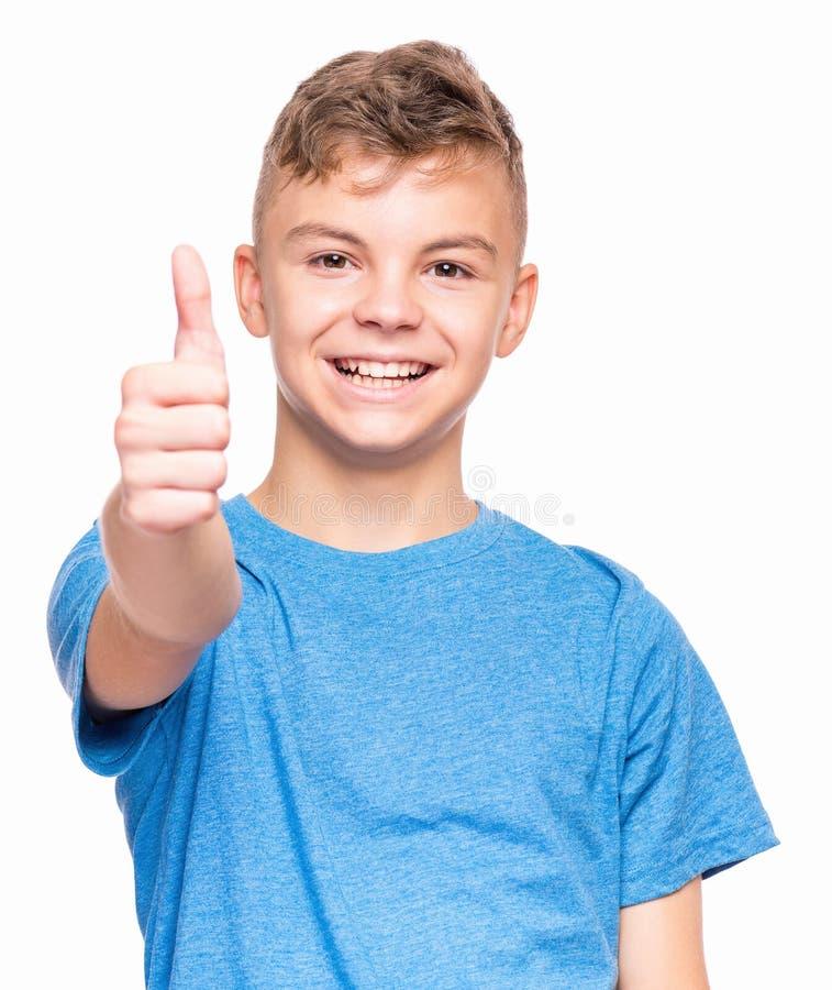 青少年的男孩情感画象  免版税库存照片