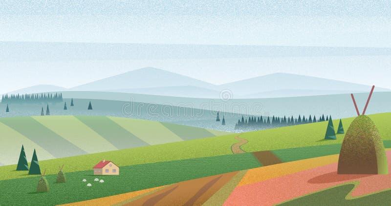 青山和草甸的例证有农舍的反对蓝色山在阴霾 早晨雾领域风景与 皇族释放例证