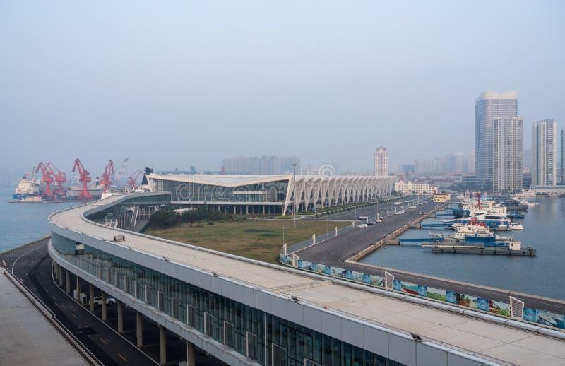 青岛游轮国际终端在中国 免版税库存照片