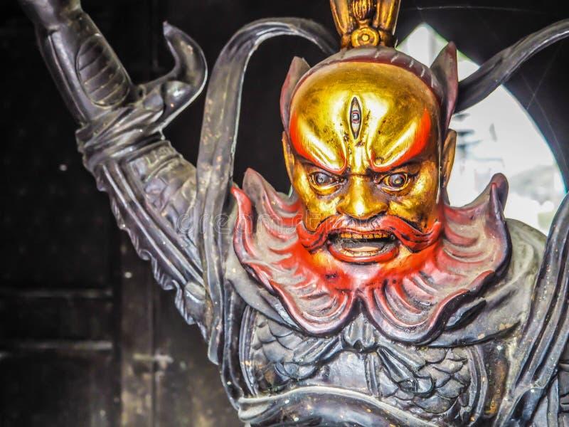 青岛,中国- 2017年12月:关闭战士雕塑 免版税库存图片