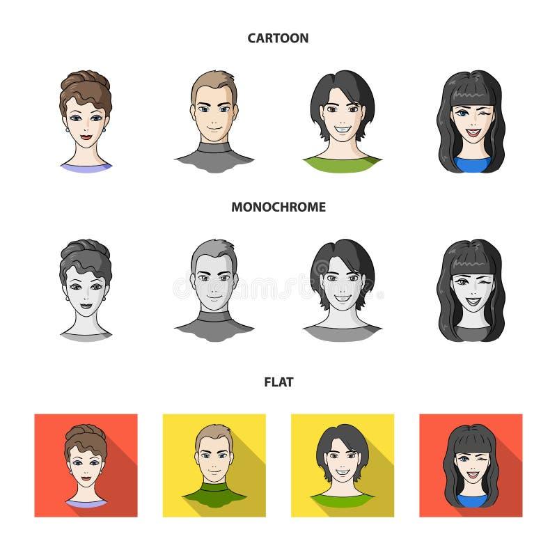 青年人不同的神色  在动画片,平,单色样式传染媒介标志的具体化和面孔集合汇集象 向量例证