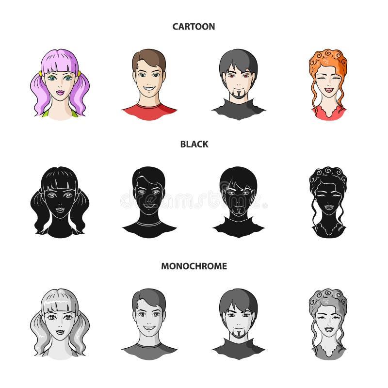 青年人不同的神色  在动画片,黑色,单色样式传染媒介标志的具体化和面孔集合汇集象 向量例证