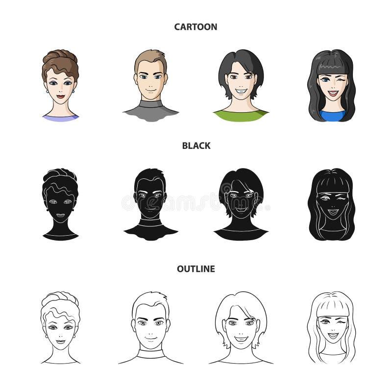 青年人不同的神色  在动画片,黑色,概述样式传染媒介标志股票的具体化和面孔集合汇集象 向量例证