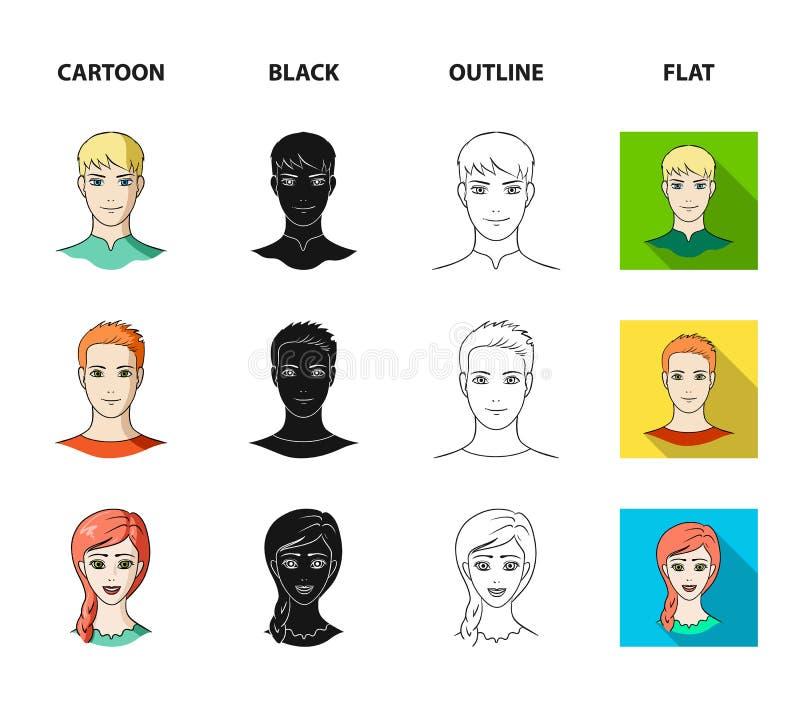 青年人不同的神色  在动画片,黑色,概述,平的样式传染媒介标志的具体化和面孔集合汇集象 皇族释放例证