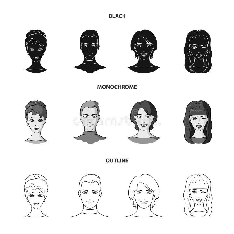 青年人不同的神色  在黑的具体化和面孔集合汇集象,单色,概述样式传染媒介标志 库存例证