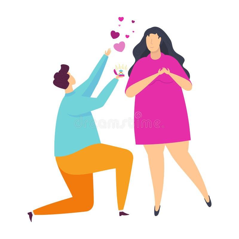 青年人愉快的夫妇爱的 字符为情人节 向量例证