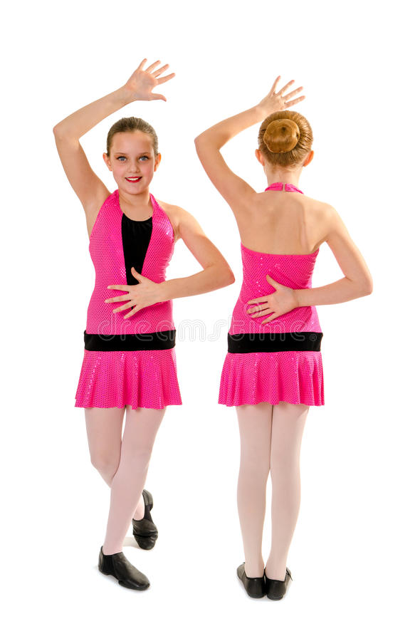 青春期前的爵士乐舞蹈二重奏 库存图片