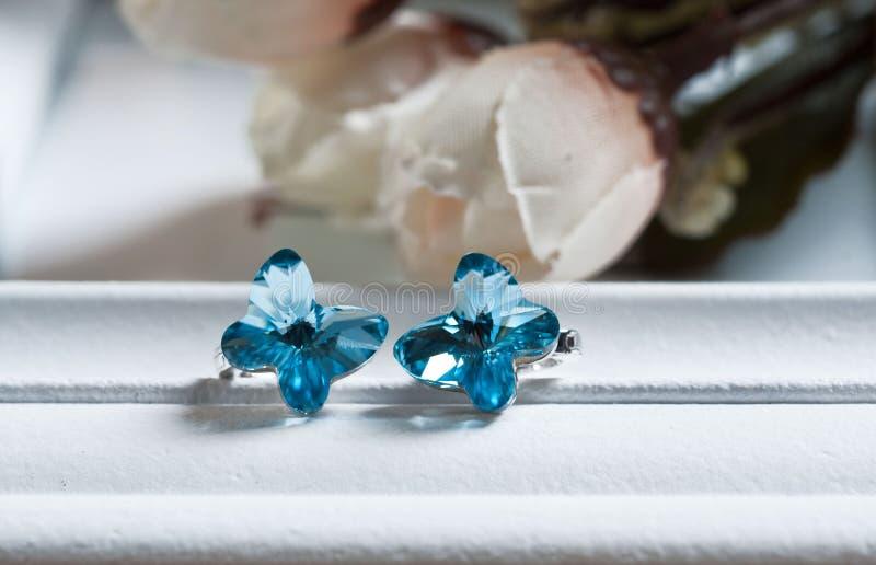 青玉耳环喜欢A对蓝色蝴蝶 免版税库存图片