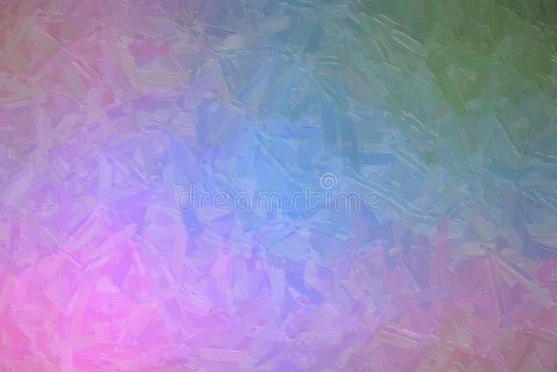青绿和桃红色油漆的抽象例证与大刷子的抚摸背景,数位引起 免版税库存图片