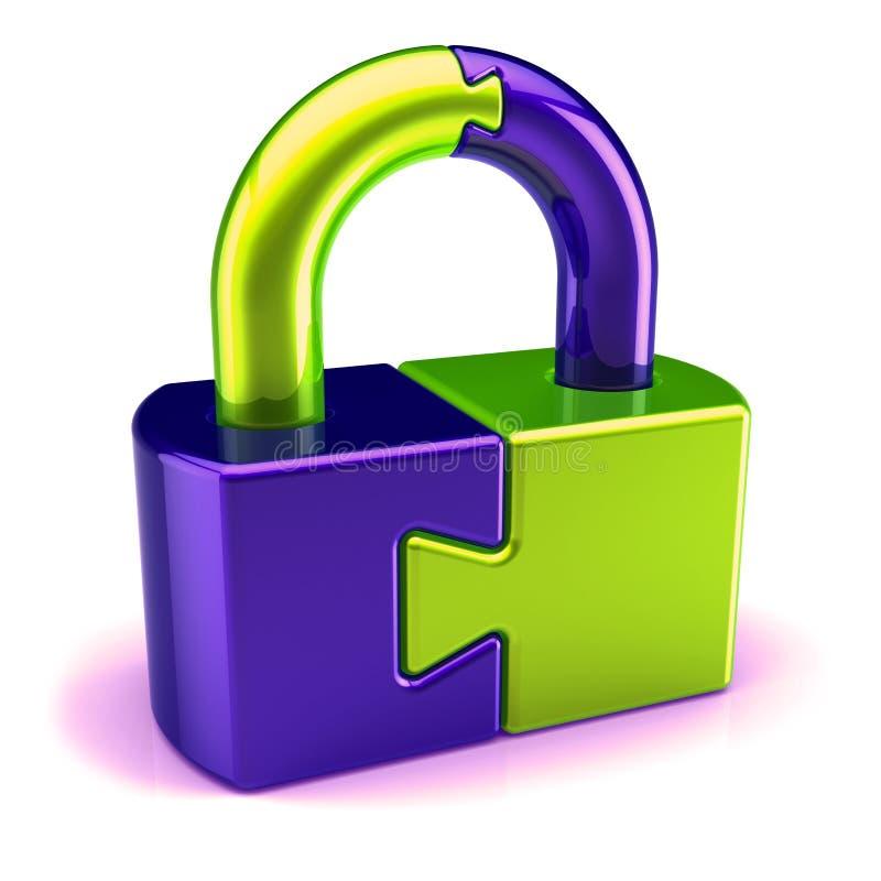 青绿安全抽象难题锁挂锁的壁橱 库存例证