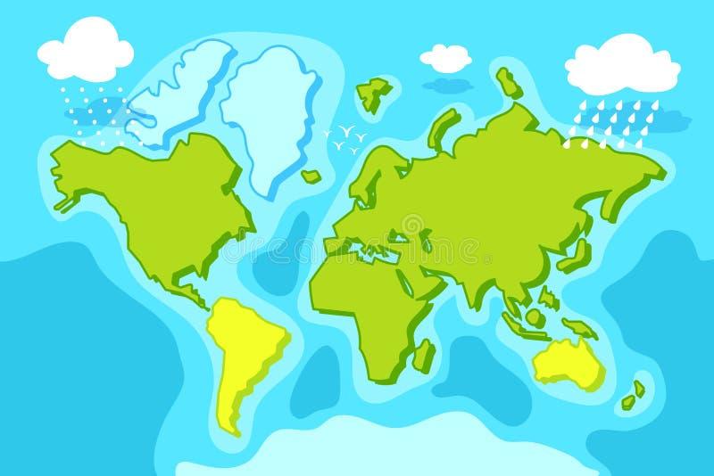 青绿的世界地图传染媒介例证 动画片与大陆,海,云彩的行星地图 蓝绿色自然风景 皇族释放例证