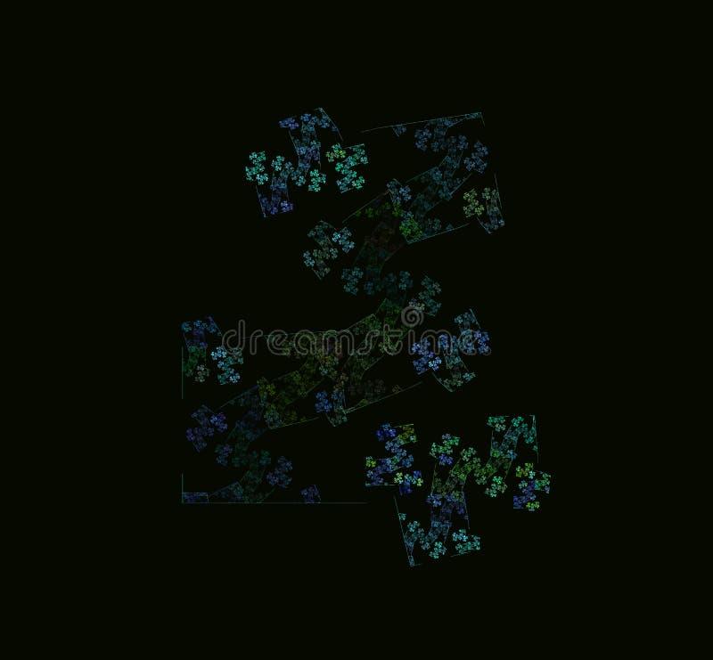 青绿的抽象分数维 幻想分数维纹理 abstact艺术深深数字式红色转动 3d翻译 计算机生成的图象 皇族释放例证