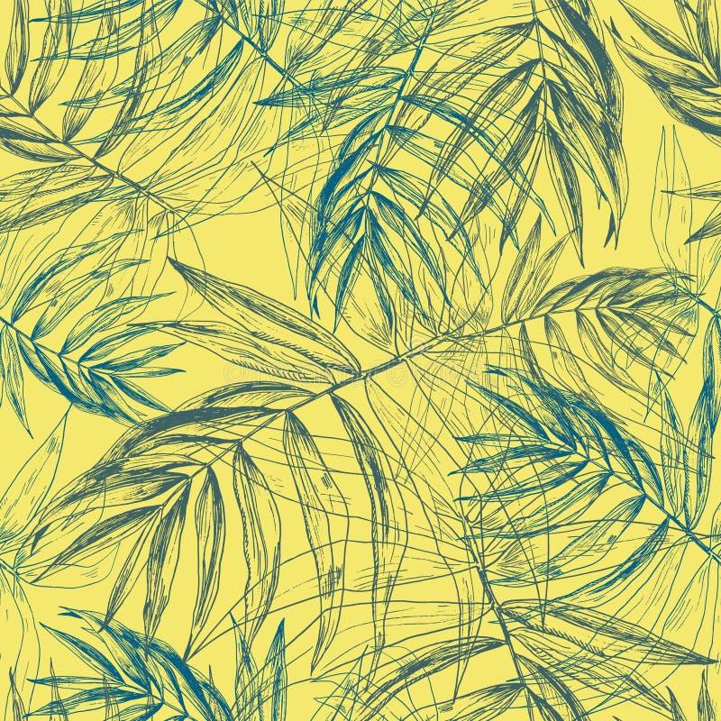 青绿的热带棕榈叶,在晴朗的黄色背景的密林叶子无缝的花卉样式 库存例证