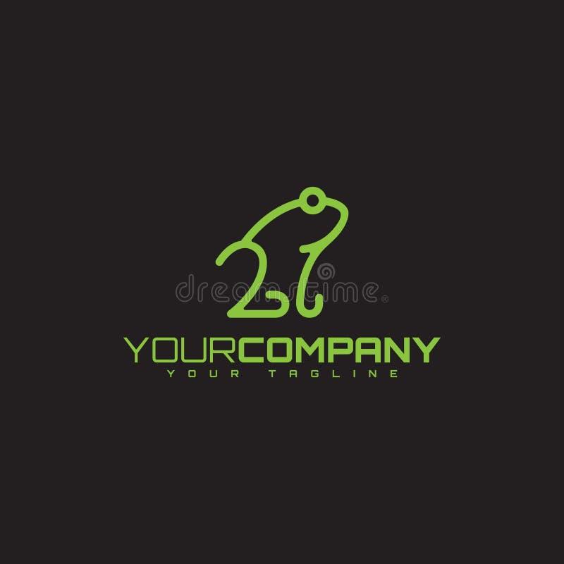 青蛙与颜色绿色的线型设计您的企业标志的 库存例证