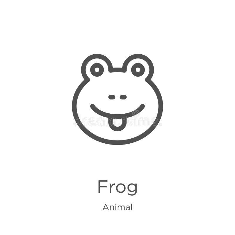 青蛙从动物收藏的象传染媒介 稀薄的线青蛙概述象传染媒介例证 概述,稀薄的线网站的青蛙象 库存例证