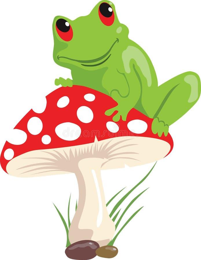 青蛙和蘑菇 向量例证