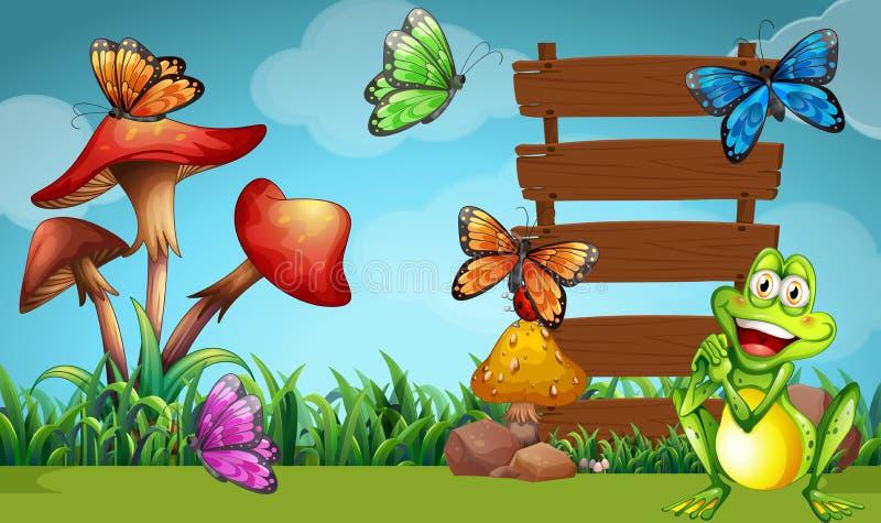 青蛙和蝴蝶在标志 皇族释放例证