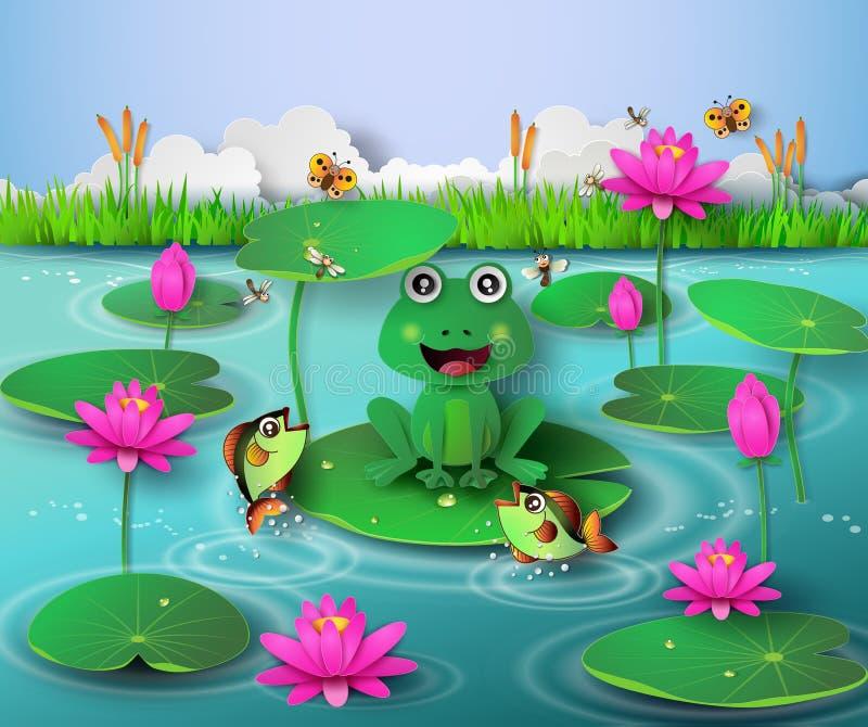 青蛙在池塘 向量例证