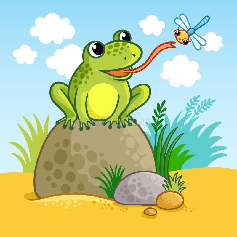 青蛙坐一个大岩石 皇族释放例证