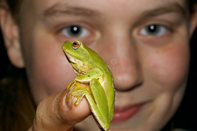 青蛙女孩查找 免版税库存图片
