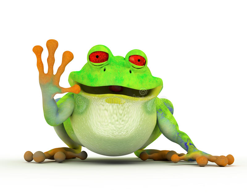 青蛙愉快的微笑的印度桃花心木 库存例证