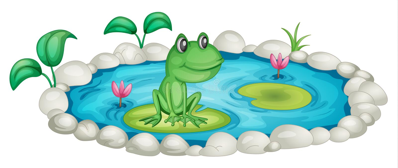青蛙池塘 向量例证