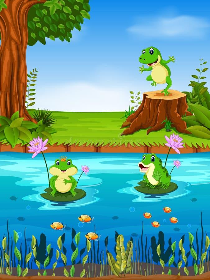 download 青蛙游泳在河 向量例证.图片
