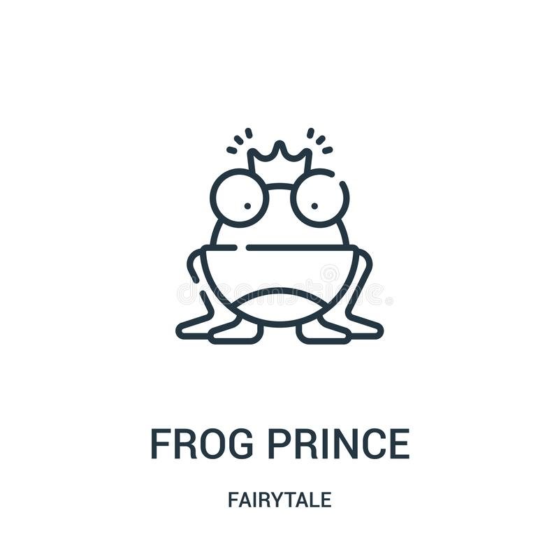 青蛙王子从童话汇集的象传染媒介 稀薄的线青蛙王子概述象传染媒介例证 库存例证