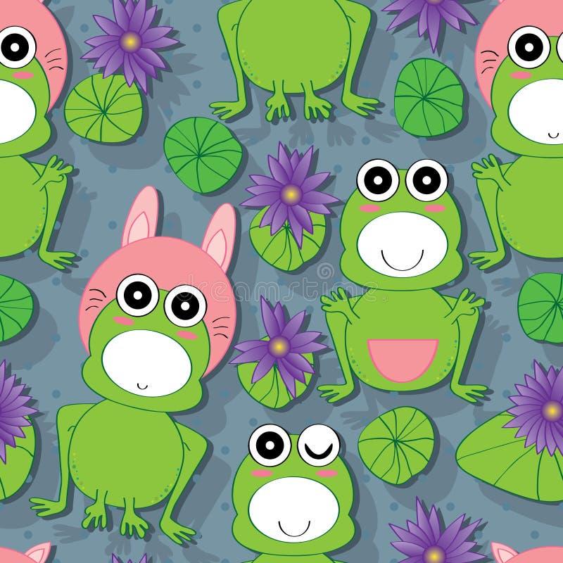 青蛙莲花无缝的样式 向量例证