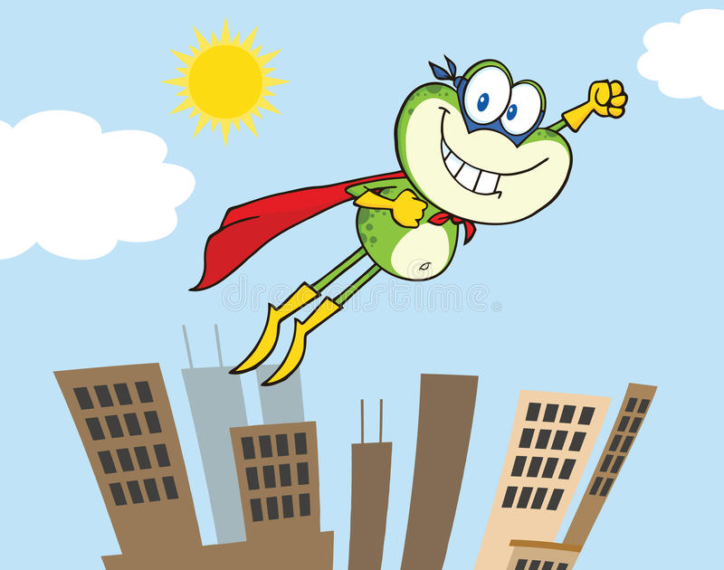 青蛙超级英雄飞行在城市的漫画人物 皇族释放例证